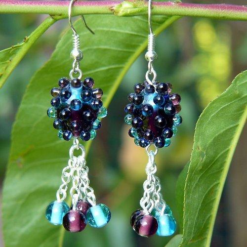 Náušnice dvoubarevné olivy - fialovo - modré