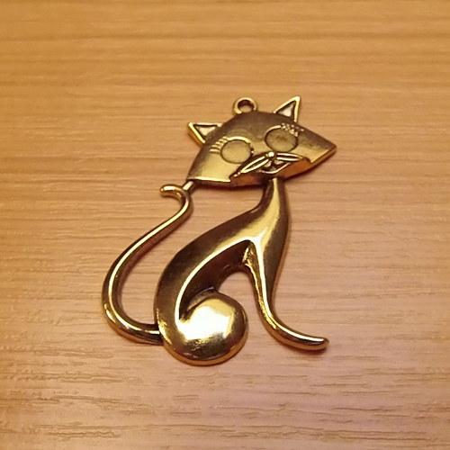 Kočka -  zlatá - 46mm x 30mm