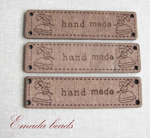 "Dřevěná destička \""handmade\"", 6,4 x 1,7 cm"
