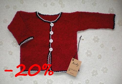 dětský pletený svetřík - krvavě červený