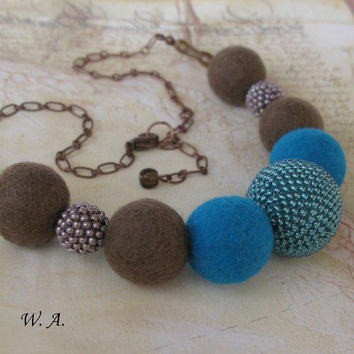 Čoko-tyrkysový náhrdelník