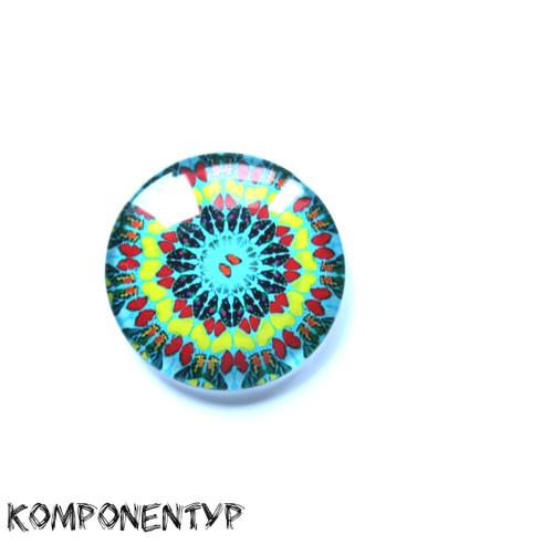 Skleněný kabošon Mandala, 30 mm