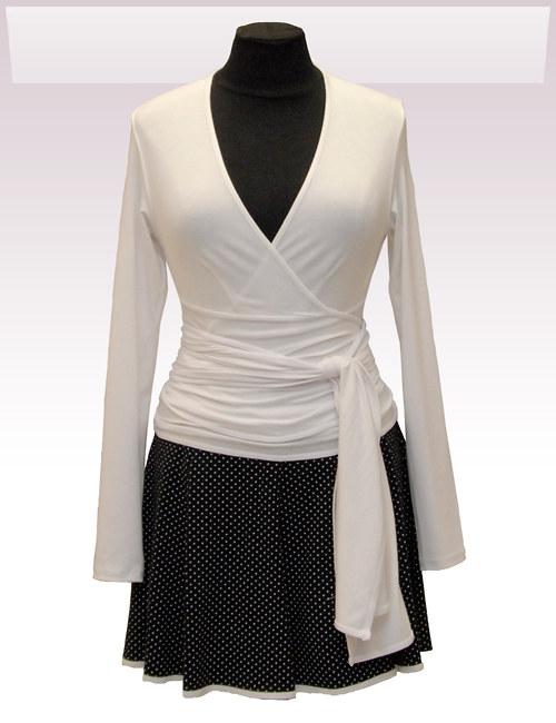Bílý zavinovací kabátek belaroma s dl. rukávem