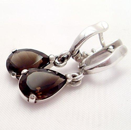 """Náušnice \""""Kapka\"""" - stříbro 925, přírodní záhněda"""