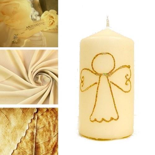 svíčka ANDÍLEK se sypáním krémová/zlatá