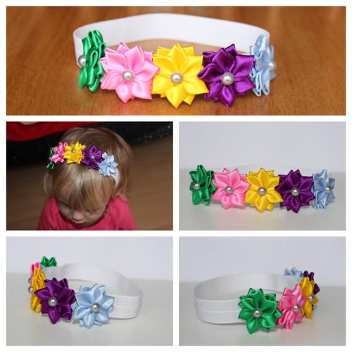 Čelenka pruženka - 5 barvených květů