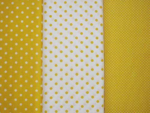 Dekorační látka metráž puntíky  žluté