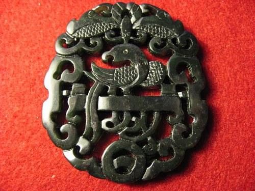 Amulet Čína - páv, jadeit