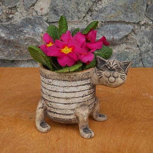 Květináč kočka bílý