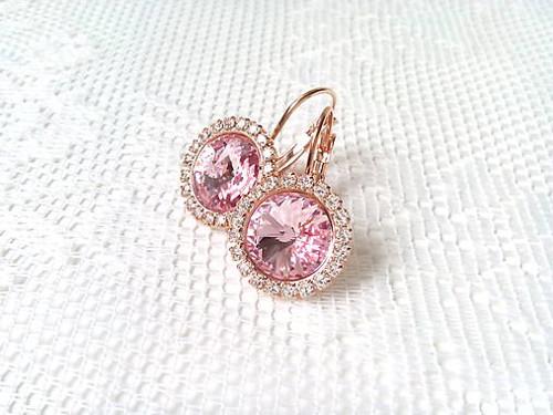 Rose Gold earrings (24k earrings/Swarovski)