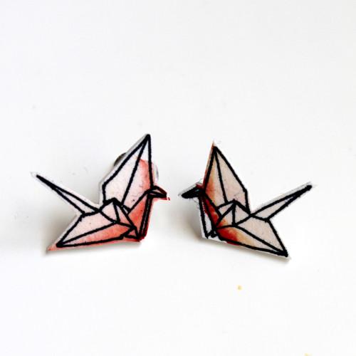 Náušnice: Origami jeřábi akvarel oranžoví