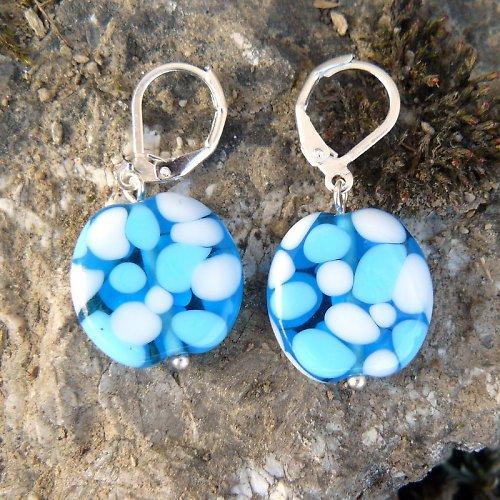 Náušnice - mozaikové placky - modro bílé