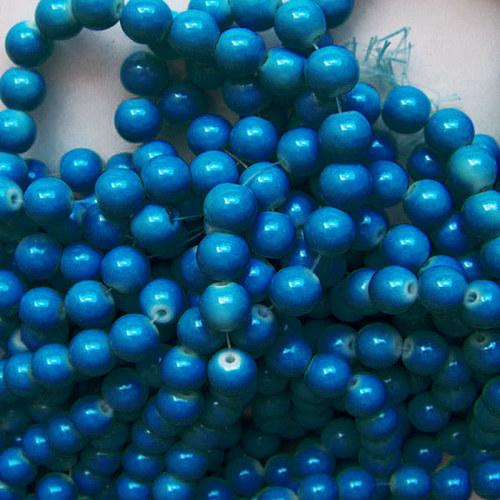 skleněné korálky LESK/ modrá petrolej./ 8mm/14ks