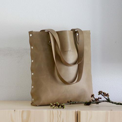 Kožená kabelka Sue (big bag béžová)
