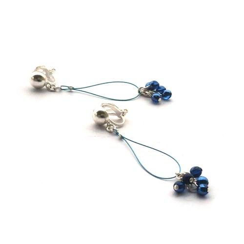 Modré smyčkové klipsové náušnice