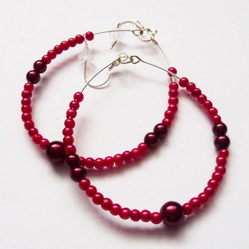 Náušnice s červenými perličkami  (16)