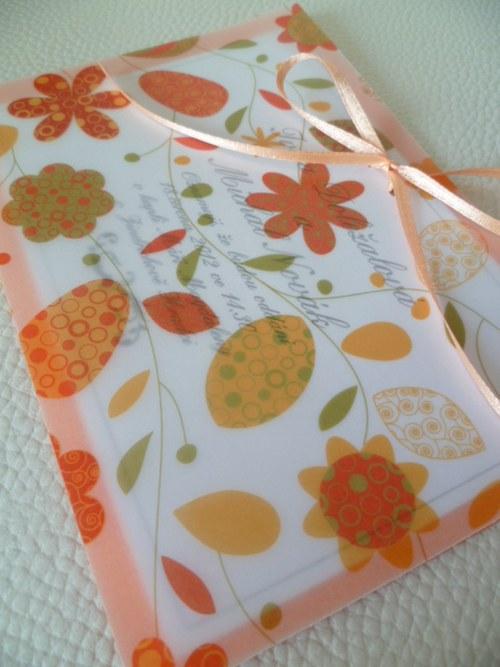 oranžové svatební oznámení,pergamenový papír