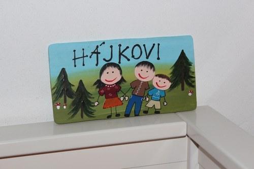 Dřevěná cedulka na dveře HÁJKOVI