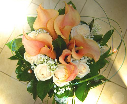 svatební kytice - kaly-růže