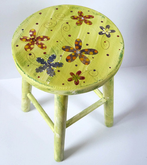 dřevěná stolička velká - zelená s květy