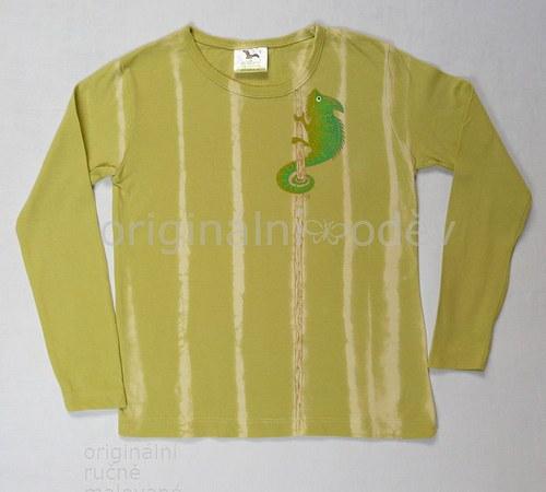Malované tričko dětské-chameleon - ZLEVNĚNO