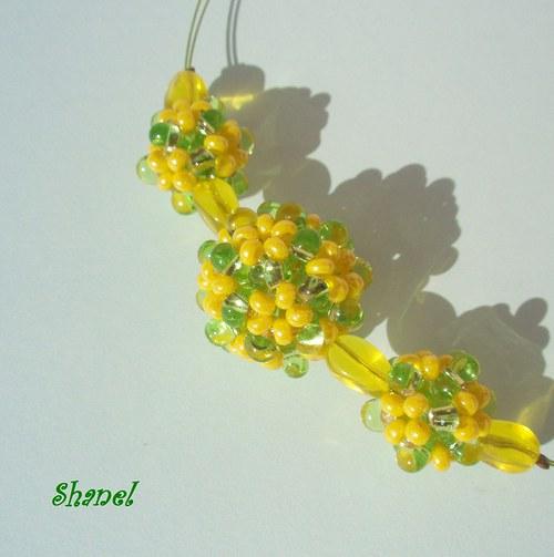 Kuličky žluťáskové - náhrdelník