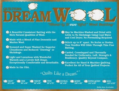 QUILTERS DREAM-VATELÍN 100% VLNA - TWIN