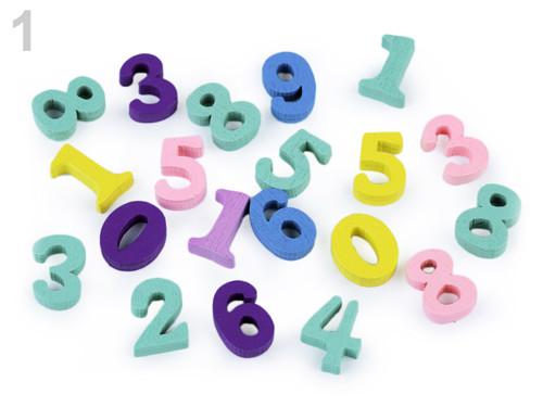 Dřevěná písmena,čísla 15mm (20ks)-čísla-mix1