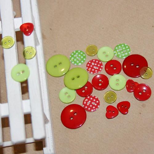 Zeleno - červená vánoční sada III, 25 kusů