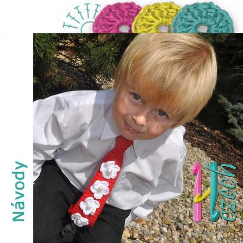 Háčkovaná kravatka květinky