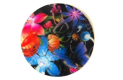 122 perleťové placky tenké- květinový motiv pestrý