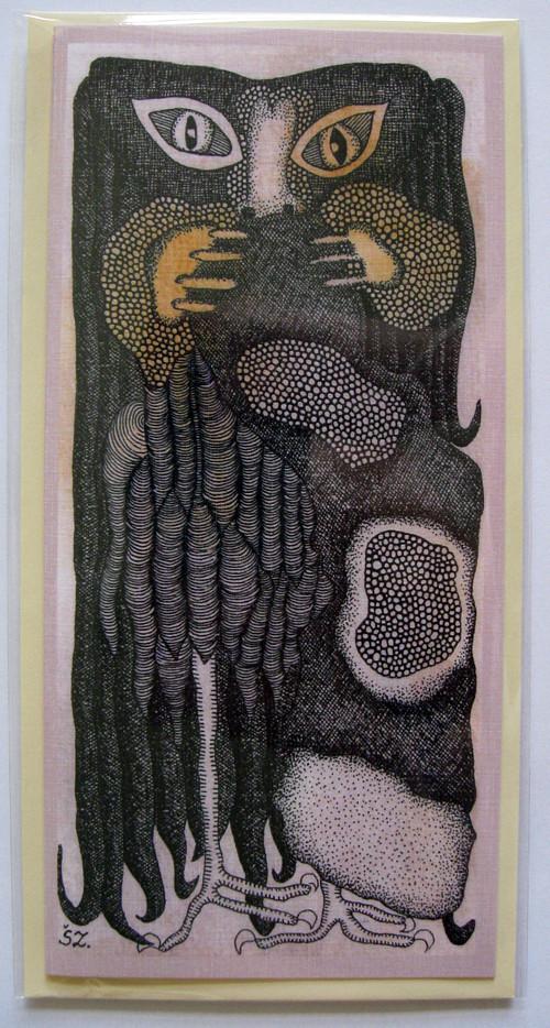 Přání - ptáček s dlouhými vlasy