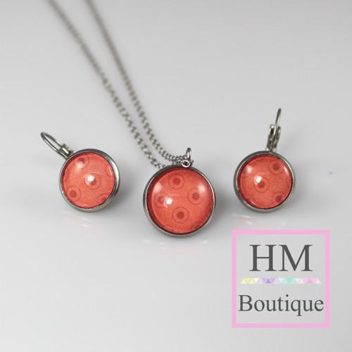 ocelový set -náušnice a náhrdelník červené