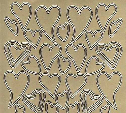 Samolepící kontury zlaté srdce