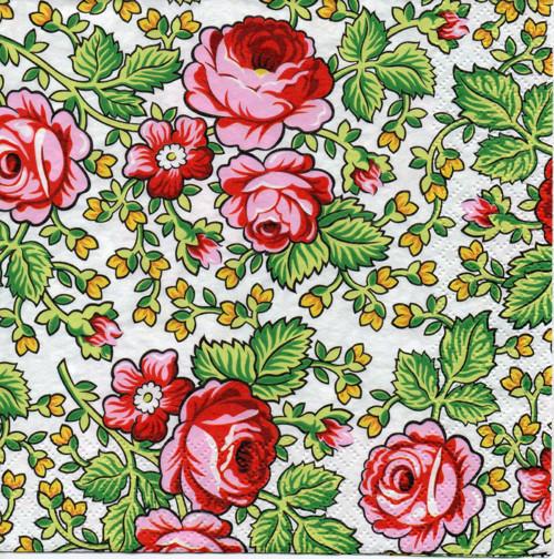 Papírový ubrousek, růže kreslená, 2 ks