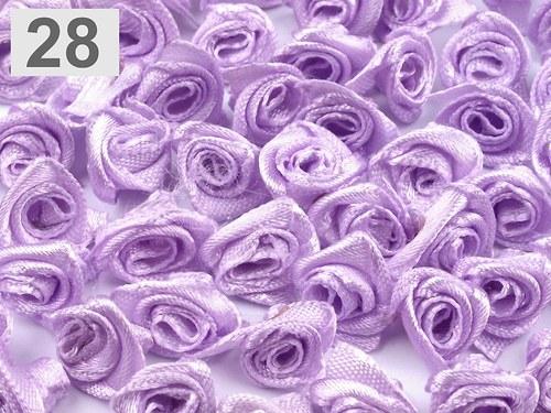 Saténová růžička 10 ks: Fialová