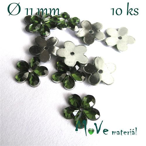 Květina plast Ø11mm našívací  10 ks zelená