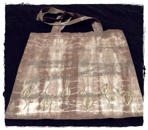 Batikovaná nákupní taška - hnědá
