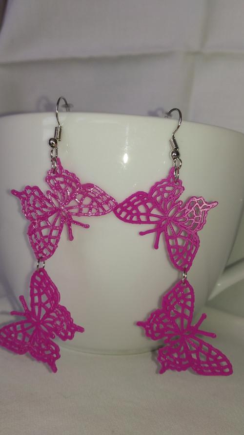 náušnice motýlci 3D tisk růžové