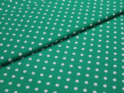 19101 Látka zelený puntík 6mm ATEST DĚTI á 0,5m