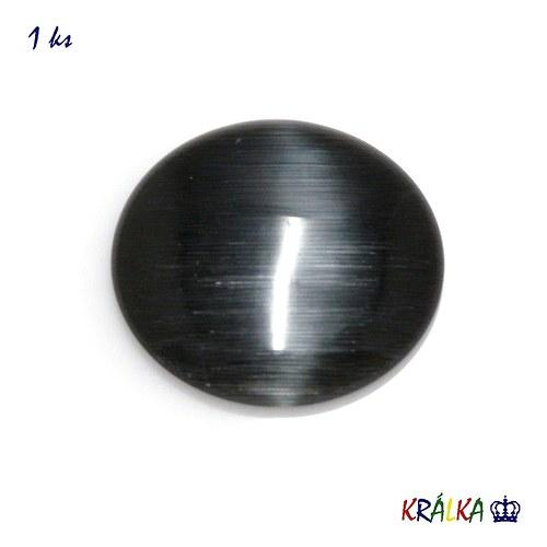 Skleněný kabošon kulatý černý