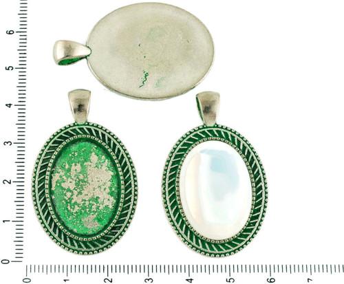 2ks českých Zelená Tyrkysová Patina Antique Silver