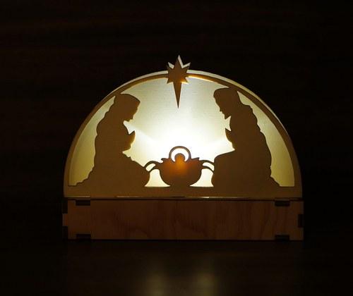 Betlém jednoduchý svítící s plnou zadní stěnou