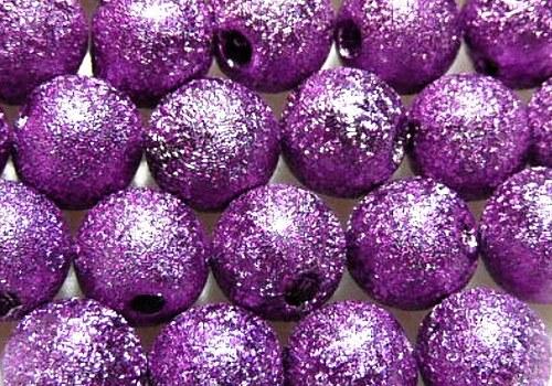 Plastová zvrásněná kulička 6 mm - fialová / 8 ks