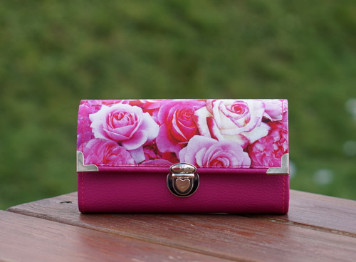 Peněženka Růžová růže, 12 karet, na fotky