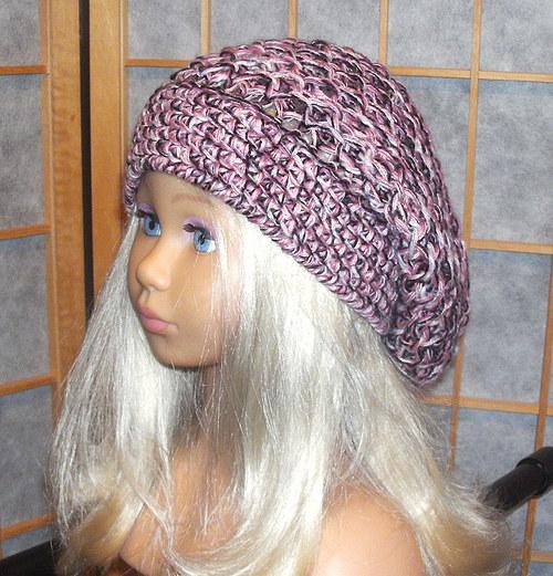 starorůžová volná čepice