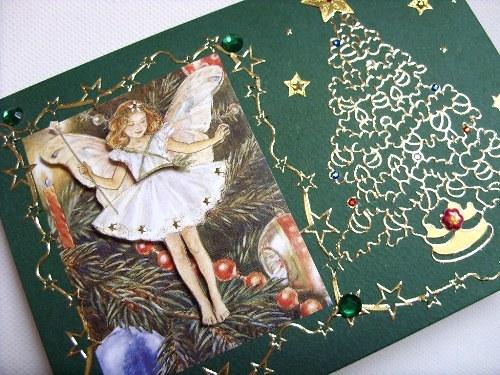 Blahopřání vánoční víla - zlatý vánoční stromeček