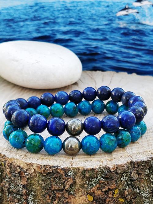 Minerální náramek / lapis lazuli, pyrit /