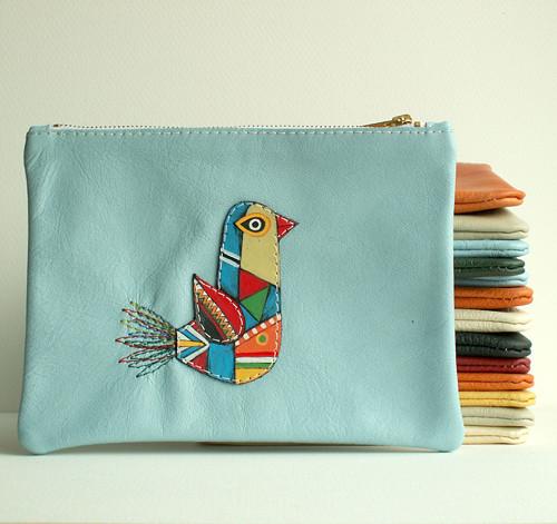 Ptáček modrý - taštička kožená (modrý)