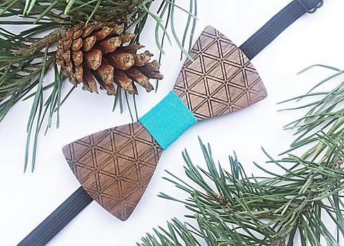 Dřevěný pánský motýlek Triangle - Modrásek